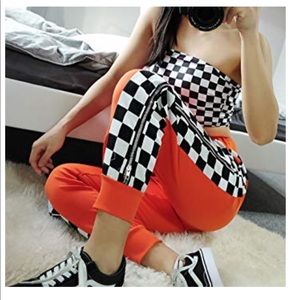 Pants - Orange and checker joggers with zippers